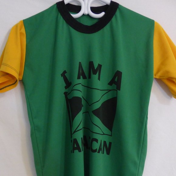 I AM A JAMAICAN print tee, green, yellow, black
